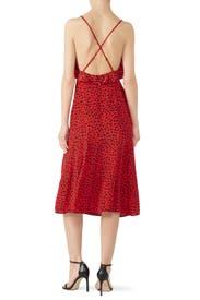 Leopard Long Red Silk Dress by The Kooples