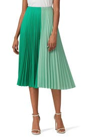 Pleated Two Tone Skirt by Tome