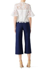 White Lace Flutter Top by AMUR