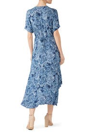 Blue Printed Tiered Ruffle Dress by Fifteen Twenty
