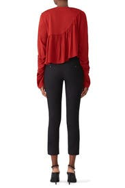 Red Ruffle Layer Blouse by 3.1 Phillip Lim