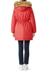 Red Faux Fur Parka by Hunter