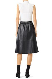 Black Leather Midi Skirt by Bagatelle