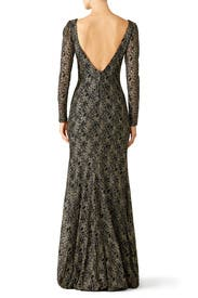 Gold Mermaid Lace Gown by Theia