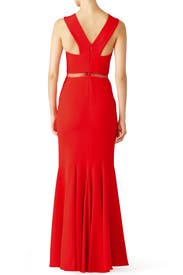 Red Chevron Cutout Gown by Mignon