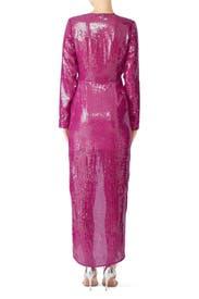 Pink Long Sequin Wrap Dress by Fleur du Mal