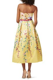 Strapless Yellow Floral Tea Dress by Marchesa Notte