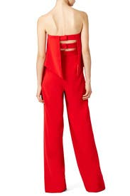 Red Retro Ruffle Jumpsuit by Jay Godfrey