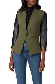 Faux Leather Sleeve Blazer by Slate & Willow