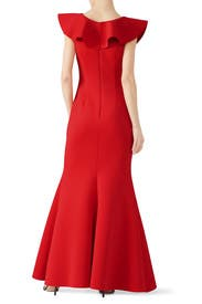 Red Ruffle V-Neck Gown by Badgley Mischka