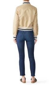 Stripe Rib Knit Bomber Jacket by Samantha Sipos