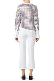 White and Bordeaux Striped Top by Carven