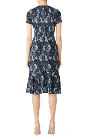 Navy Flared Hem Dress by Becken