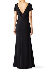 Black Cascade Gown by Badgley Mischka