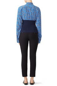 Blue Colorblock Blouse by Cedric Charlier