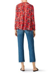 Red Edgy Floral Shirt by ba&sh