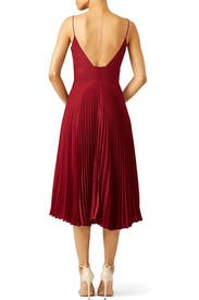 Oxblood Pleated Sweetheart Dress by Nicole Miller