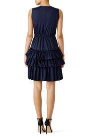 Navy Poplin Ruffle Dress by Martin Grant