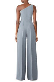 Blue One Shoulder Jumpsuit by Christian Siriano