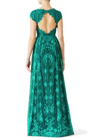 Green Floral Lace Gown by ML Monique Lhuillier