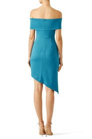 Blue Off Shoulder Asymmetric Dress by Slate & Willow