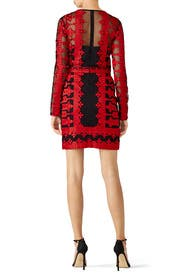 Red Embroidered Mesh Sheath by Nicole Miller