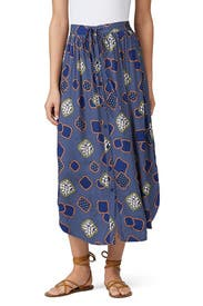 Printed Button Front Skirt by The Odells