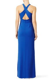 Brilliant Blue Wrap Gown by Laundry by Shelli Segal