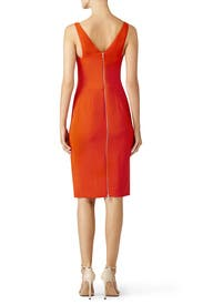 Red Textured Crepe Cocktail Dress by Narciso Rodriguez