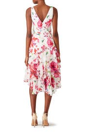 Pink Floral Ruffle Dress by Theia