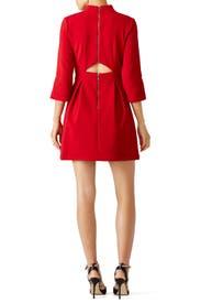 Red Artelier Mock Neck Dress by Nicole Miller