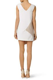 Beige Asymmetrical Colorblock Dress by Milly
