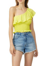 Yellow One Shoulder Ruffle Top by krisa