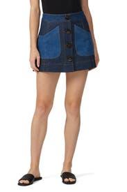 Denim Colorblock Skirt by Coach