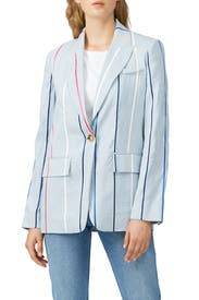 Blue Striped Single Button Blazer by Derek Lam 10 Crosby