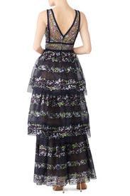 Navy Floral Tiered Gown by Marchesa Notte