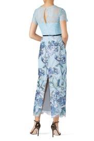 Blue Artwork Sequin Dress by Marchesa Notte