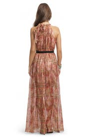 Lurex Drip Halter Bow Gown by Thread Social