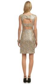 Gold Lela Lace Dress by David Meister