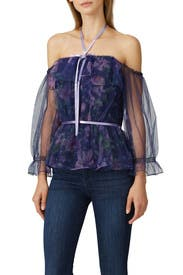 Floral Mesh Off The Shoulder Top by Marchesa Notte