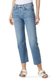 High Rise Stove Pipe Jeans by RE/DONE