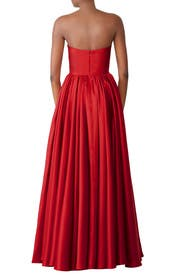 Red Strapless Ball Gown by Badgley Mischka