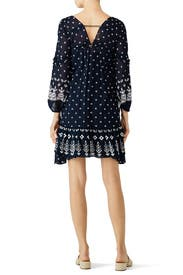 Navy Dotted Ruffle Dress by Derek Lam 10 Crosby