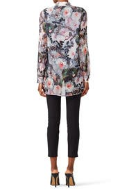 Pinstripe Floral Blouse by Badgley Mischka