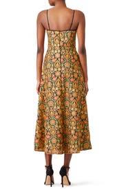 Orange Floral Midi Dress by ML Monique Lhuillier