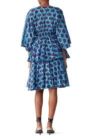 Blue Printed Bella Dress by RHODE