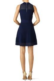 Navy Stitch Flare Dress by Milly