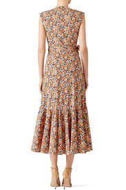 Orange Floral Printed Wrap Dress by Rebecca Taylor