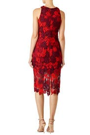 Red Floral Lace Sheath by Alexia Admor