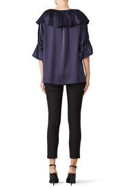 Navy Frilled Blouse by Osman